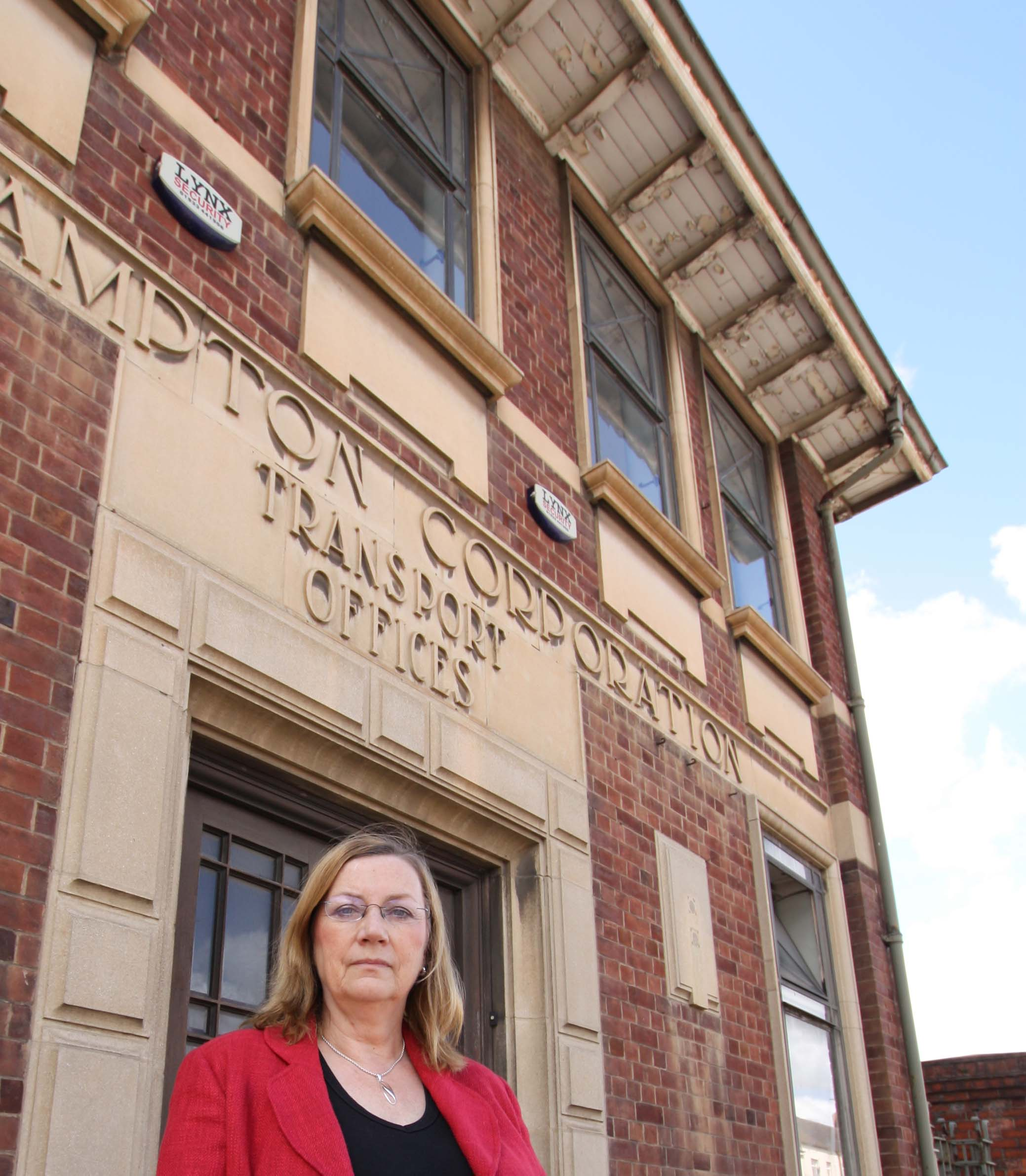 County Cllr Jill Hope at the listed Northampton Corporation building at the site
